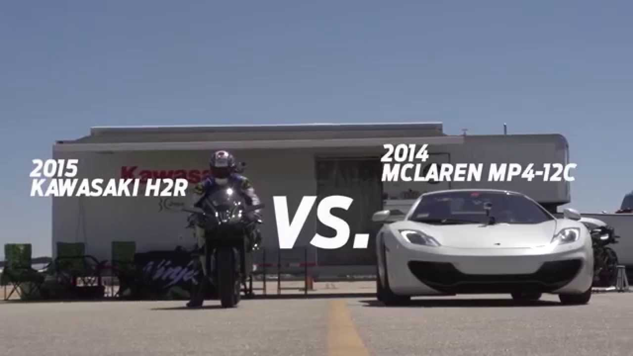 Kawasaki Ninja H2r Vs Bugatti Veyron Drag Race 2015 Youtube