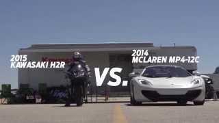 kawasaki ninja h2r vs bugatti veyron drag race 2015
