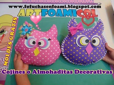 Cojines o almohadas decorativas buho en foamy con moldes - Como hacer cojines decorativos ...