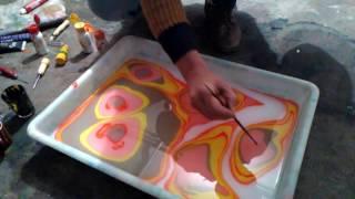 pintar con la tecnica Marbling...3 ..desde Asturias
