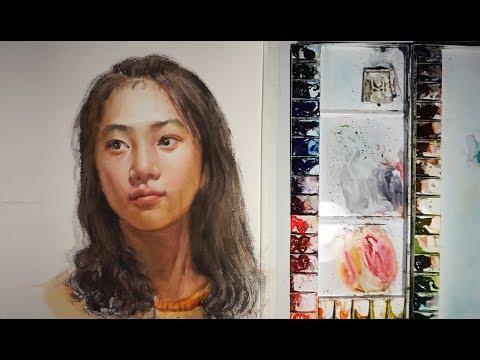 Watercolor Portrait Painting : a Girl Portrait