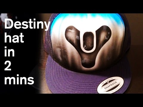 Destiny graffiti art style hat video painted in 1 minute airbrush gamer gear