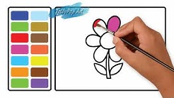 Belajar Menggambar Dan Belajar Mewarnai Bunga Untuk Anak Balita Paud