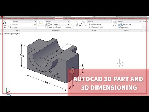Autocad 3D Part and 3D Dimensioning