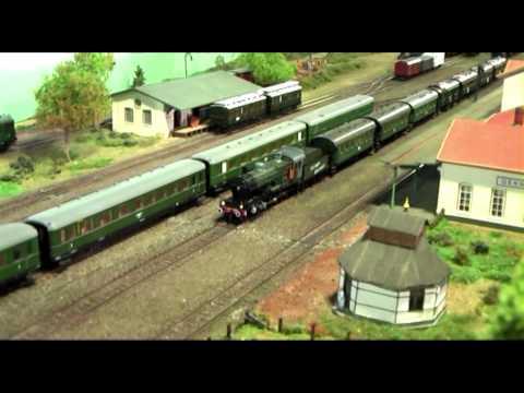 German WWII HO Model Train Layout Deutsche Reichsbahn Modellanlage