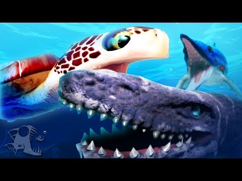 Feed and Grow Fish - GIANT SEA TURTLE BATTLES MOSA, ICHTHYOSAURUS EATS MOSASAURUS!- Update Gameplay