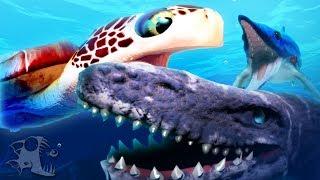 Feed and Grow Fish - GIANT SEA TURTLE BATTLES MOSA, ICHTHYOSAURUS EATS MOSASAURUS!- Update Gameplay