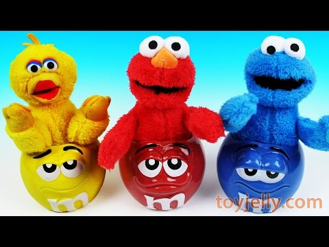Thumbnail: Learn Colors Muppets Elmo Big Bird Cookie Monster M&M's Surprise Cups Finger Family Nursery Rhymes