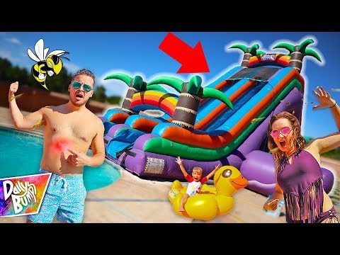STUNG BY BEES on Worlds Biggest WATER SLIDE!  (CAUGHT ON CAMERA!)