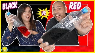 BLACK vs RED - Mixing with random things into clear SLIME en una Botella