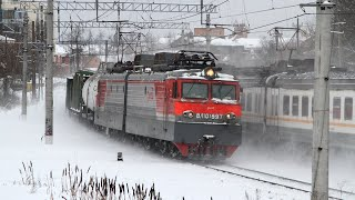 Trains on the Moscow - Kiev railway. Difficulty climbing a freight train. Nara - Latishskaya stretch