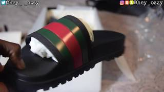 Gucci Flip Flops Review + On Feet Review (Gucci Web Slide Sandals) (@hey_ozzy Instagram)