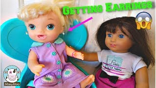 Baby Alive Gets Her Ears Pierced Brianna's First Earrings