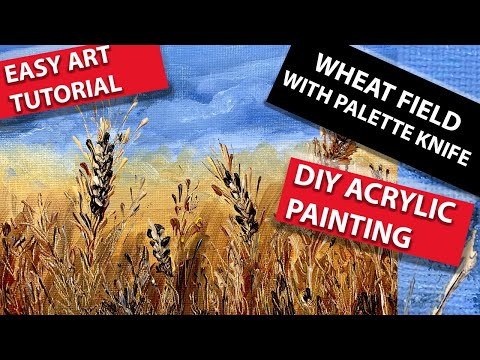 Easy landscape painting for beginners step by step | wheat field acrylic painting tutorial