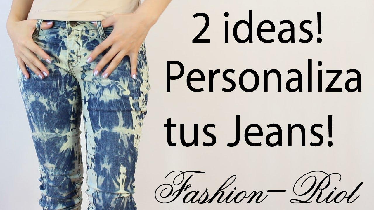 Diy 2 Ideas Para Personalizar Tus Jeans Acid Wash Tie Dye Youtube