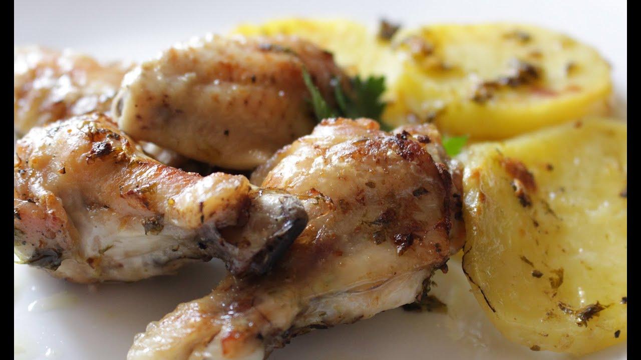 Alitas de pollo al ajillo con patatas al horno youtube for Cocinar gambas al horno
