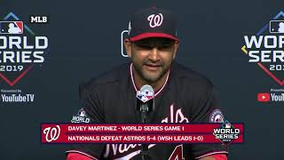 Davey Martinez after Nats win Game 1 of the World Series