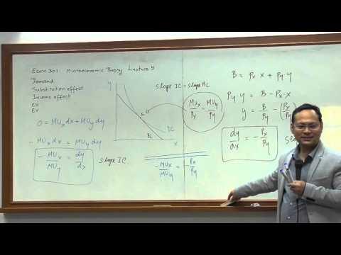 Komsan Suriya Econ301 Micro Econ Lecture 5: Mathematics of Consumer Theory