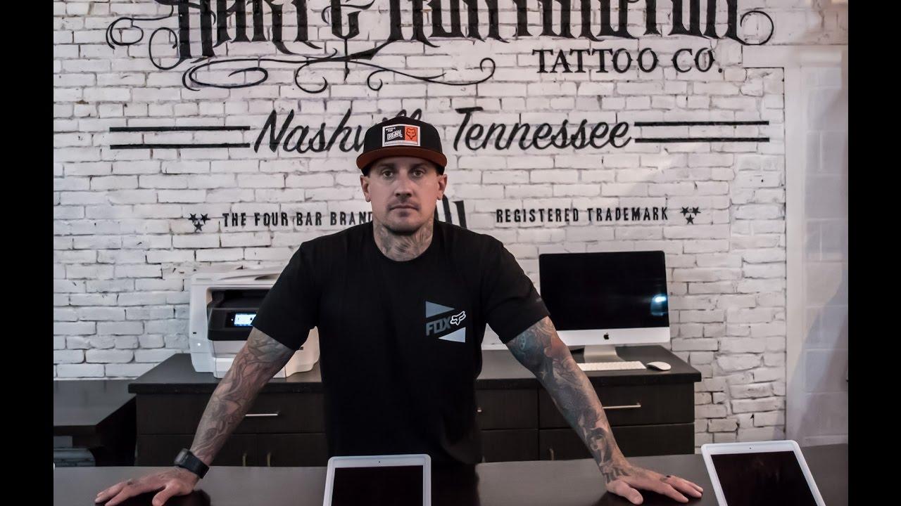 Carey Hart Tours Hart & Huntington Tattoo, Nashville - YouTube