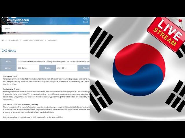 2022 Korean Government Scholarship Program for undergraduate study in South Korea