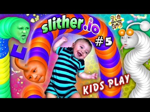 SLITHER.io #5: BABY SNAKE PUNCHER! FGTEEV Kids Play w/ Worms! (Chase, Lex, Mike & Shawn)
