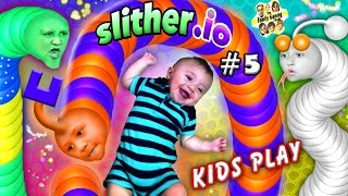 SLITHER.io #5: BABY SNAKE PUNCHER! FGTEEV Kids Play w/ Worms! ♫ (Chase, Lex, Mike & Shawn) ♫ Video