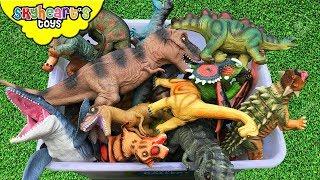 DINOSAUR FIGHT in Box! Skyheart Toys Dinosaurs battle prehistoric trex mosasaurus