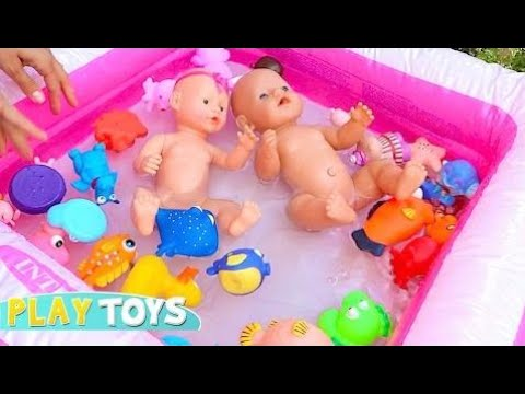 Baby Doll Swim Toys Play Duck Dolphin Swim Squicky Kids Toys Hd