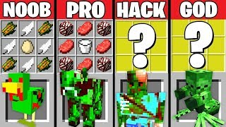 Minecraft Battle: ZOMBIE ANIMALS CRAFTING CHALLENGE ~ NOOB vs PRO vs HACKER vs GOD - Animation