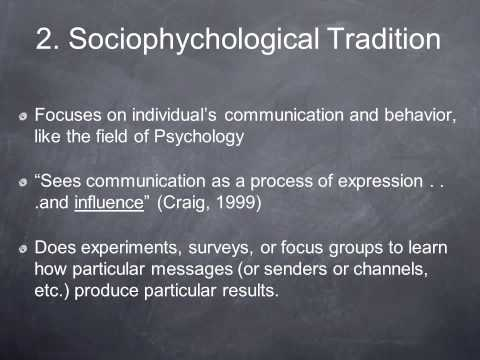 Communication Traditions Part 1 Of 3