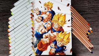 Drawing Goku, Gohan and Goten Father Son Kamehameha thumbnail