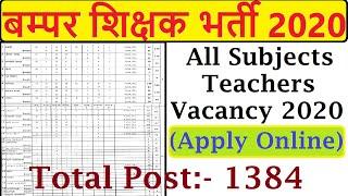 Total 1384 Post All Subjects Regular Basis Teachers Vacancy 2020,Teaching Staff Big Recruitment 2020