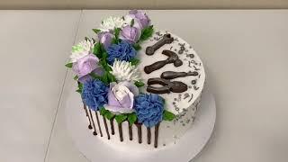 Торт для МУЖЧИНЫ с инструментами и цветами Роза Гортензия Хризантема из БЗК Красивый торт