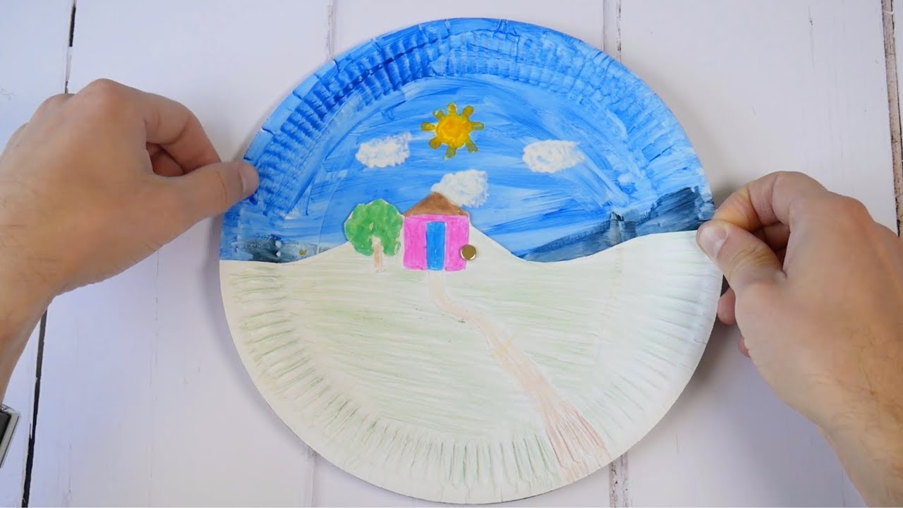 Day Night Paper Plate Craft Youtube