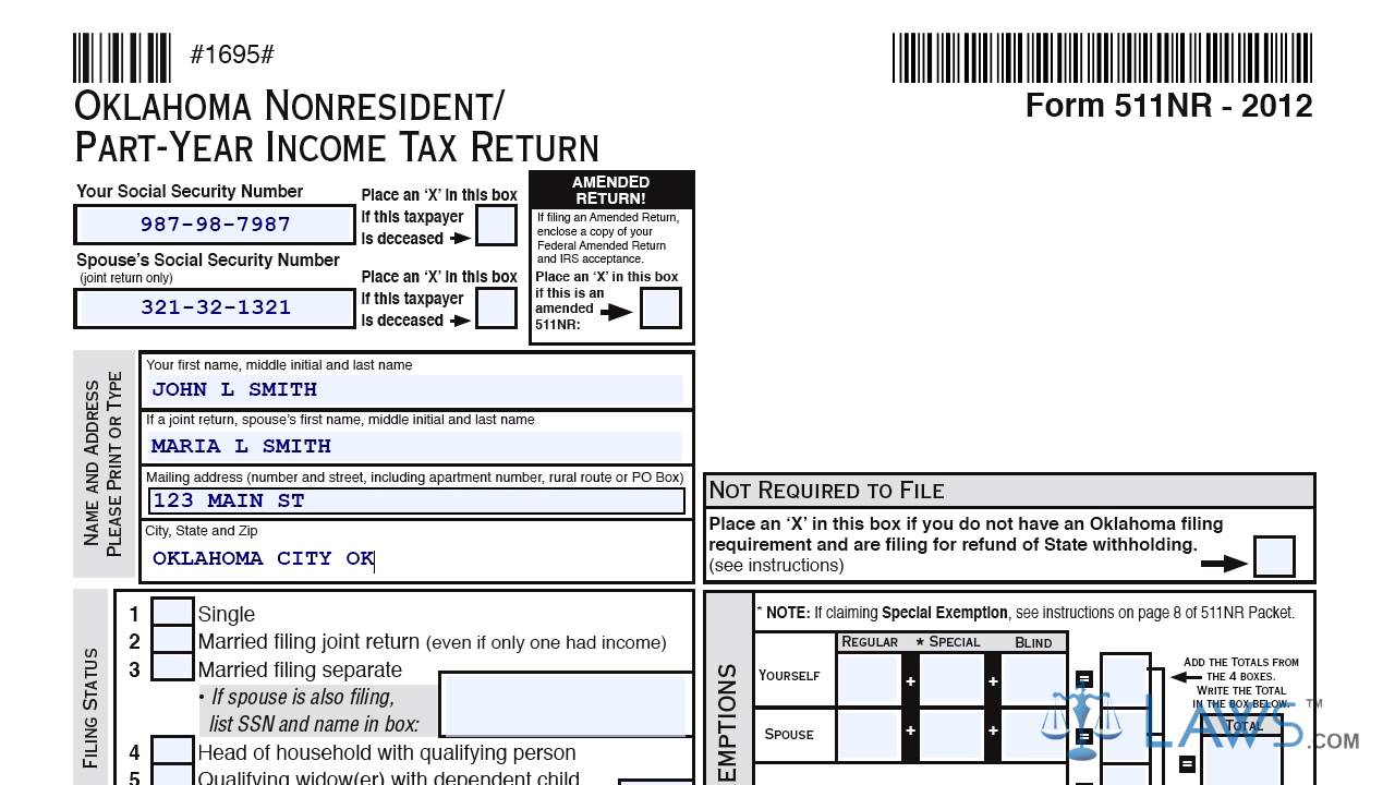 Form 511NR Oklahoma Nonresident Part Year Income Tax Return - YouTube