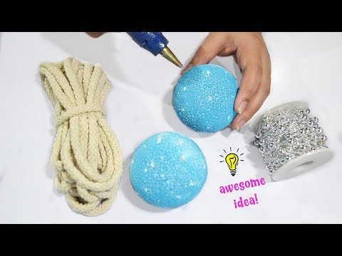 How to make 2 super easy christmas ornaments from styrofoam ball| christmas decor