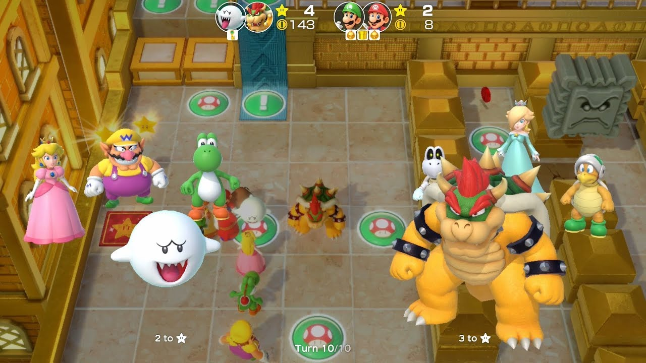 Super Mario Party Partner Party #362 Tantalizing Tower Toys Boo & Bowser vs  Luigi & Mario