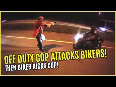 Download OFF-DUTY COP ATTACKS BIKERS then BIKER KICKS COP! Bikes Vs Cops 2017 Mp4 baru