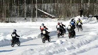 Vanhat moottoripyörät ja mopot. Jäärata-ajot Joroinen - Motorcycles Ice Road Racing