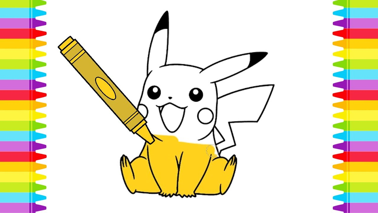 Pikachu Pokemon Coloring Pages For Kids Learning Colors