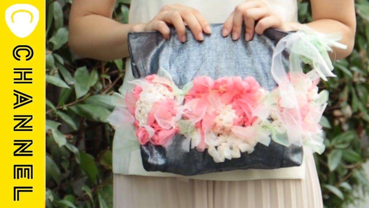 【DIY】大きな咲き編みフラワー×デニムのポーチ|C CHANNEL DIY - YouTube