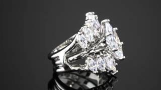 5.98 TCW Marquise-Cut Cubic Zirconia Jacket Bridal Set In Silvertone