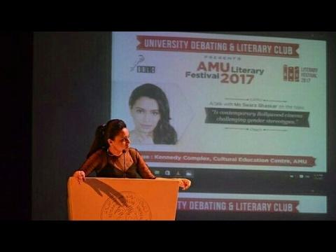 Actress Swara Bhaskar Question Answer season at AMU Literary Festival 2017. Aligarh.