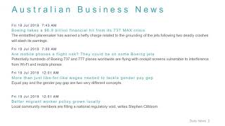 Business News Headlines for 19 Jul 2019 - 1 PM Edition