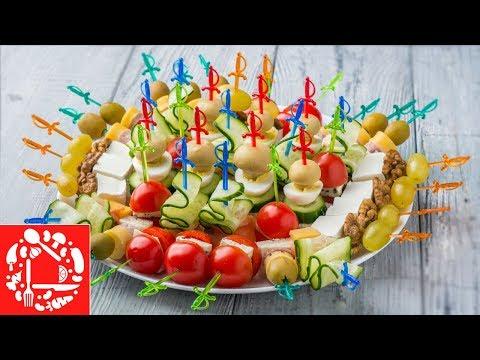 5 видов Канапе на Праздничный стол 🍢🍢🍢 Мини бутерброды на шпажках на Новый год