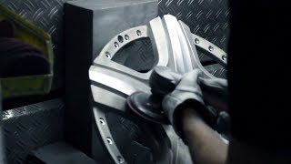 Watch the incredible manufacturing process at the BBS GmbH   BBS forged wheels use our special multi-stage die-forging process which can require up to 18 millions pounds of pressure to produce.  This process makes the wheel extraordinarily strong and elim