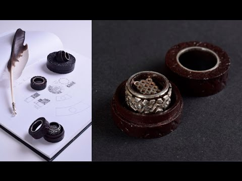 12 RINGS JEWELLERY - 925 Sterling silver ring with leather box