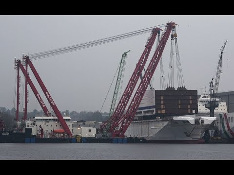 Exclusive | Giant floating crane GULLIVER, lifts up to 2400 t Megablocks on the new Ferry HONFLEUR