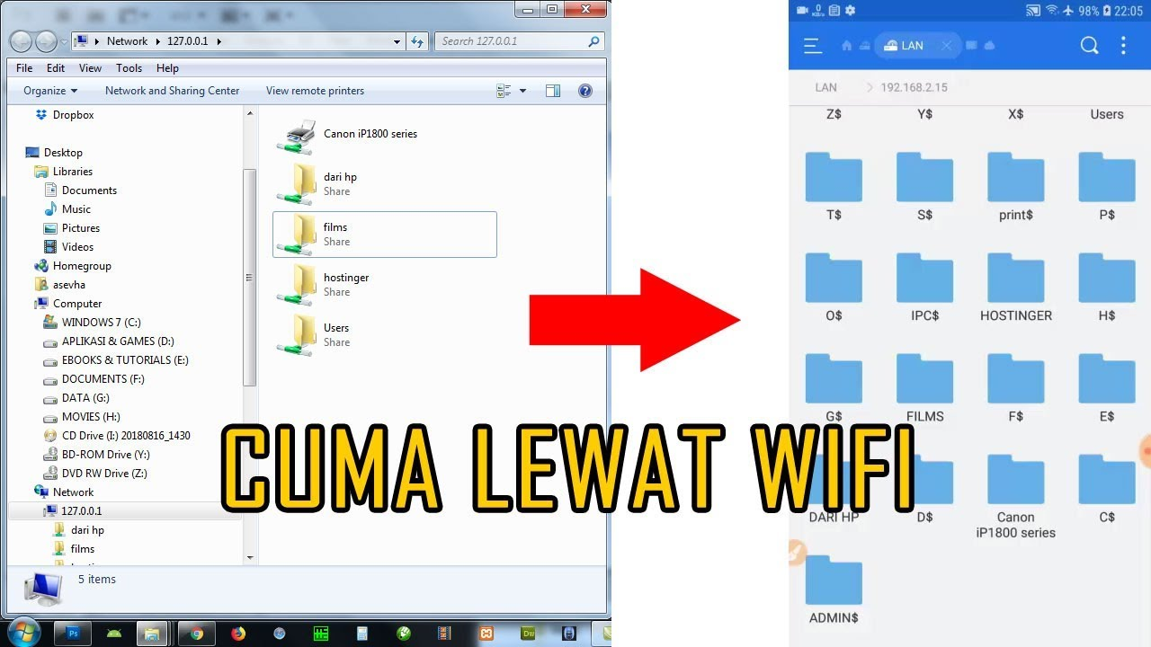 cara transfer file hp ke komputer tanpa kabel data