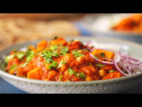 Chickpea & Sweet Potato Curry.  Perfect Vegetarian curry ready in 30 mins
